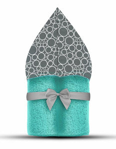 Bubbles Hooded Towel Aqua