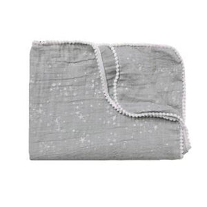 Stars Summer Blanket / Swaddle Silver