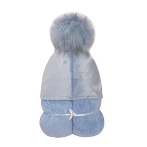 Pompom Hooded Towel Blue