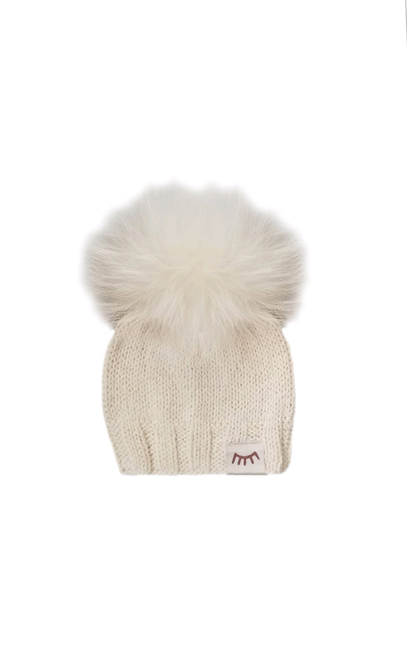 Monpom Cream Knit Hat 0-6 Months