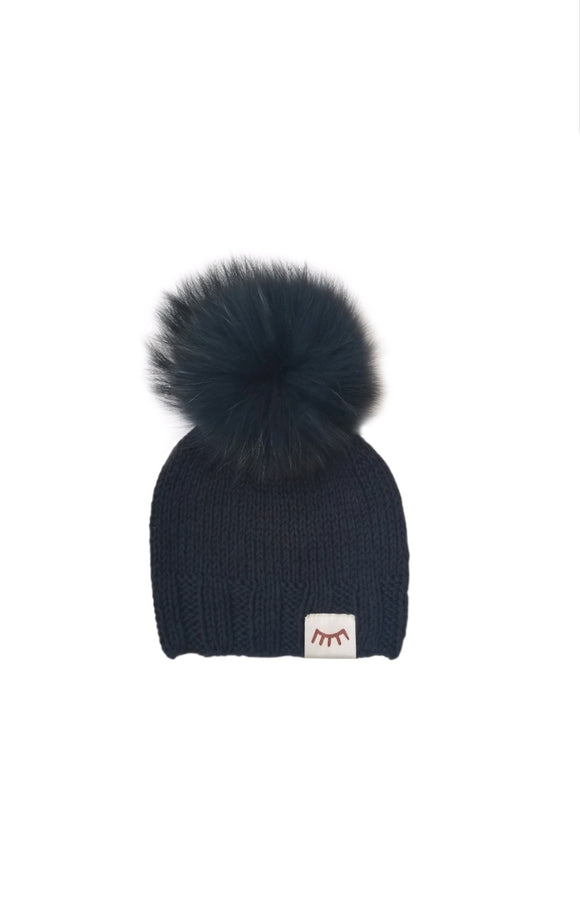 Monpom Black Knit Hat 0-6 Months