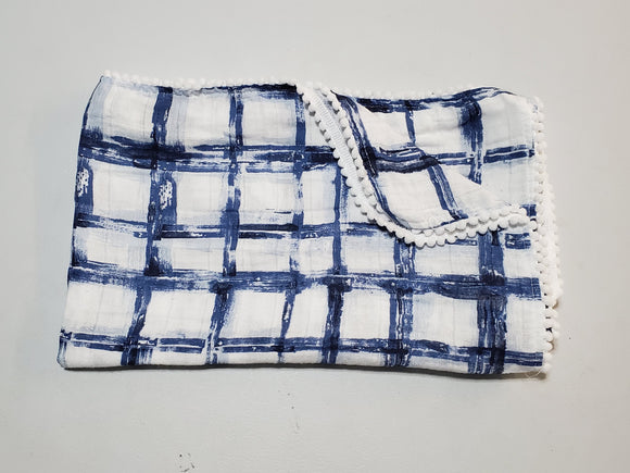 NEW! Navy Checkers Pom Muslin Swaddle
