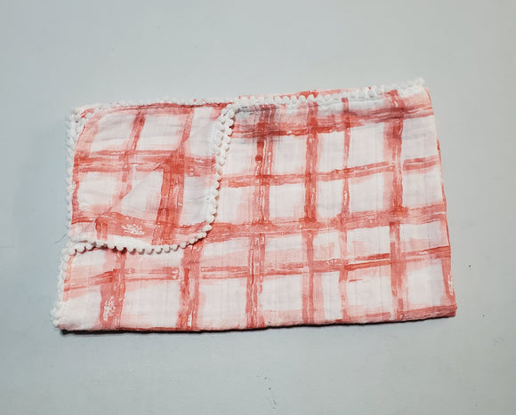 NEW! Blush Coral Checkers Pom Muslin Swaddle