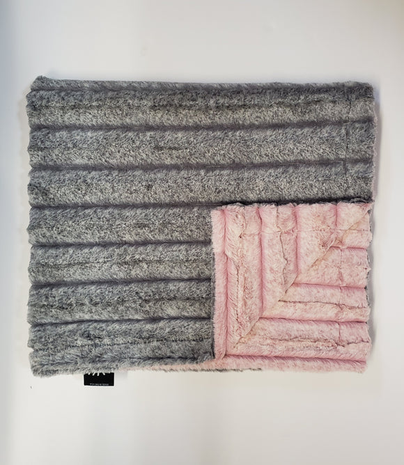 NEW! Frosted Grey/Pink Minky Blanket
