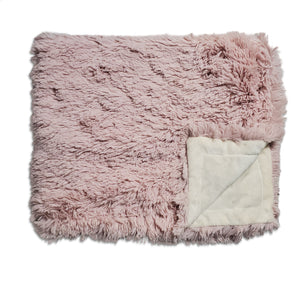 NEW! Shaggy Mauve Cream Minky Blanket