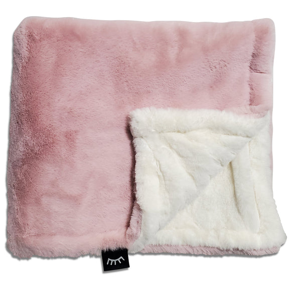NEW! Fluffy Mauve Cream Minky Blanket