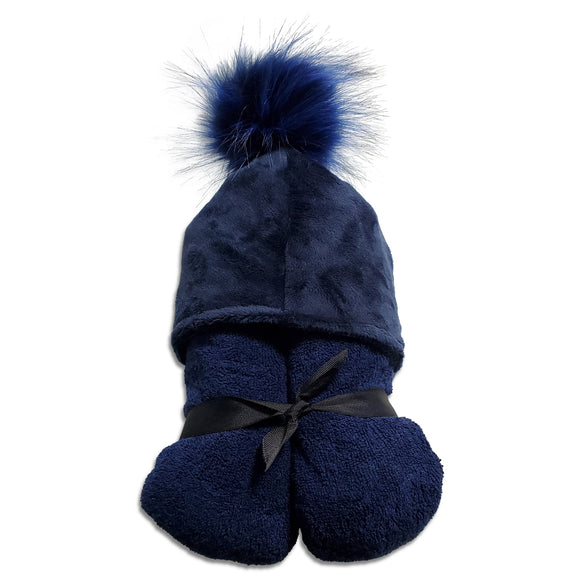 Pompom Navy Hooded Towel