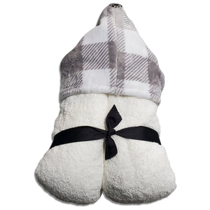NEW! Plaid Silver Hooded Towel