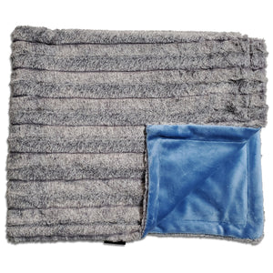 NEW! Chinchilla Grey Cobalt Minky Blanket