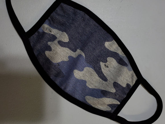 NEW! Navy Camo Face Mask - Adults