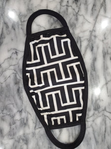 NEW! Geo Black & White Face Mask - Adults