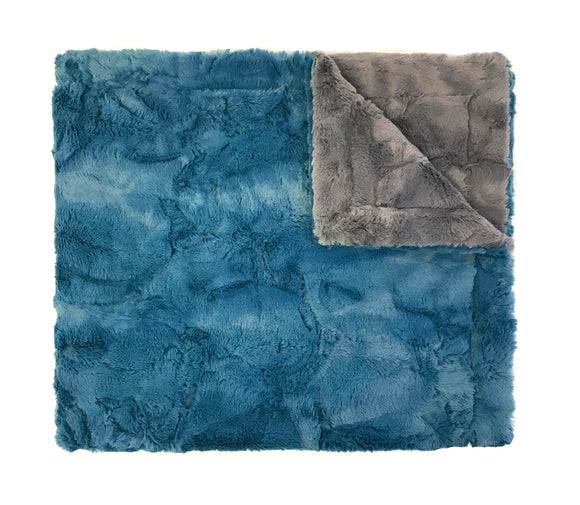 Cozy Blue Grey Minky Blanket