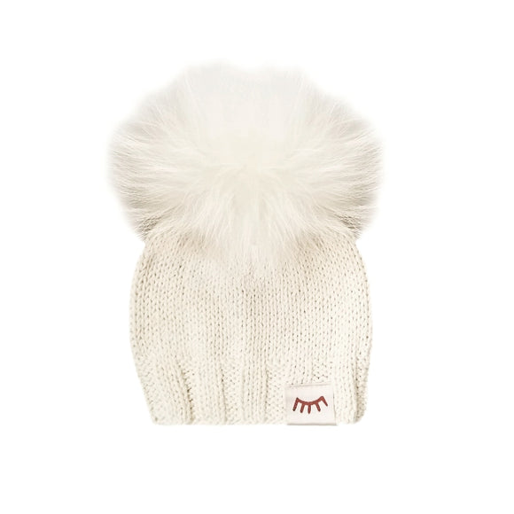 Monpom Cream Knit Hat 6-12