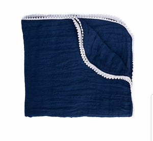 Navy Pompom Summer Blankets / Swaddle