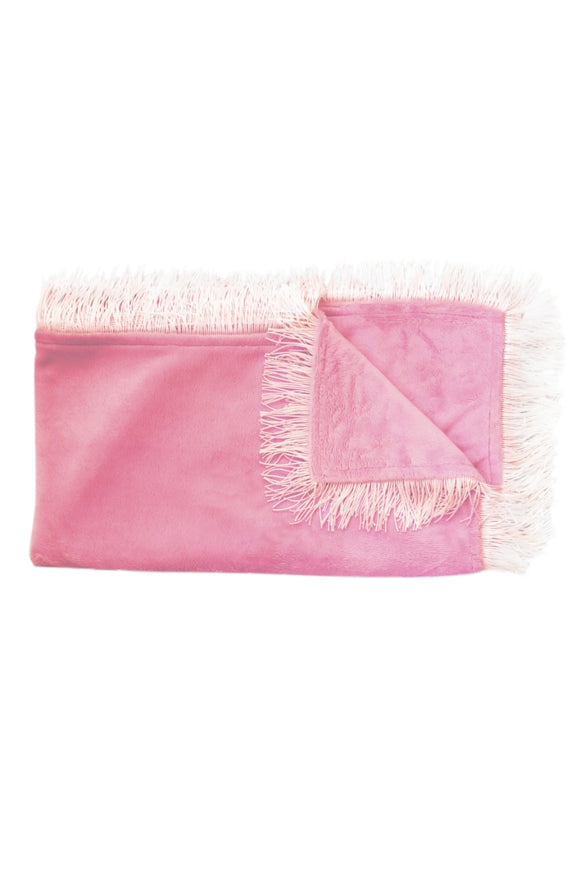 Fringes velour Summer Blankets/ swaddle - Fuchsia