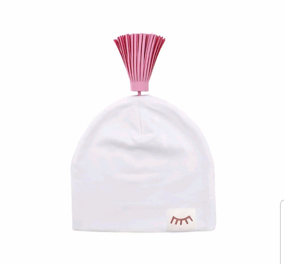 Cotton Hat with Leather tassel- White Pink - 0-6 months