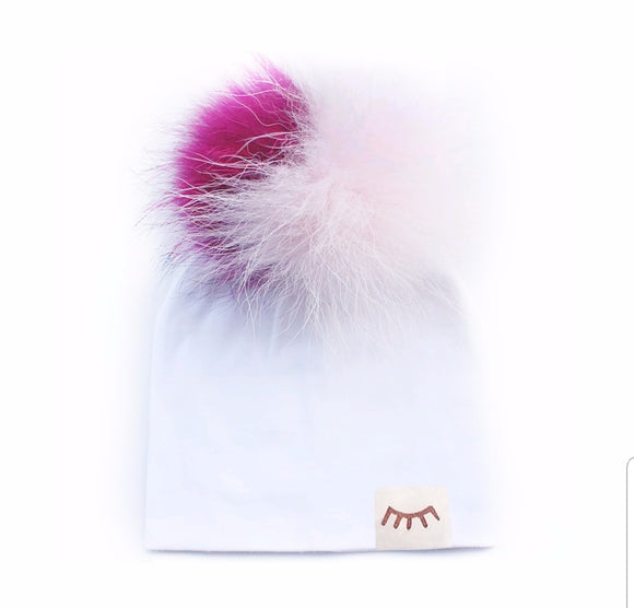 Cotton hat with detachable Pompom- White Candy - 0-6 Months