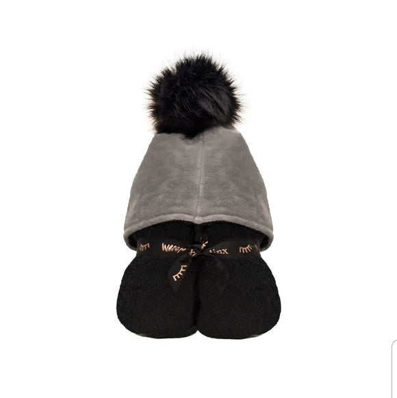 Pompom Hooded Towel - Black & Grey