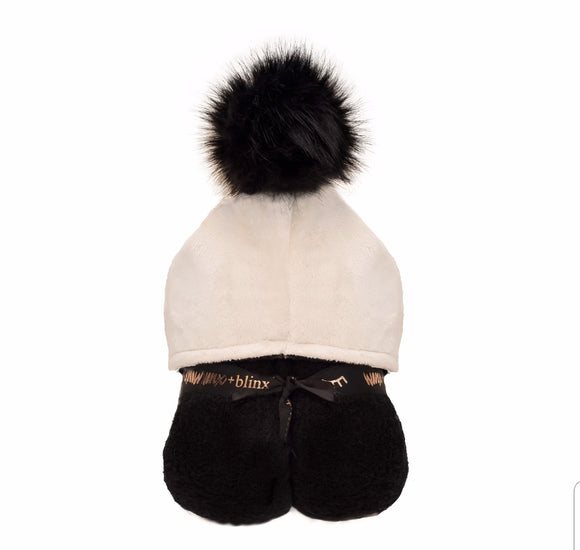 Pompom Hooded Towel - Black & Cream