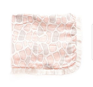 Mod Giraffe Swaddle with Fringes - Blush Pink