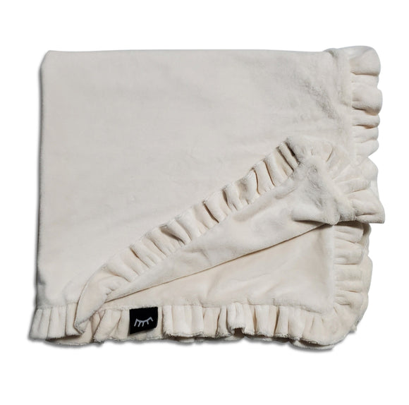 NEW! Ruffle Cream Minky Blanket