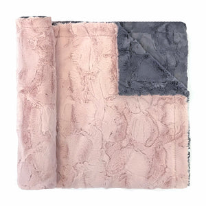 Throw Colorblock Minky Blanket  grey/blush