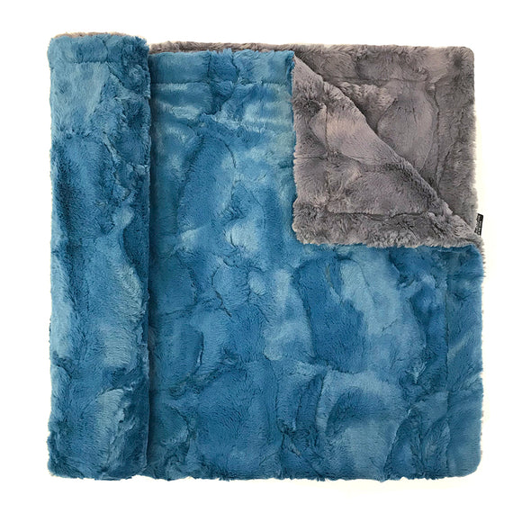 Throw Colorblock Minky Blanket  blue/grey