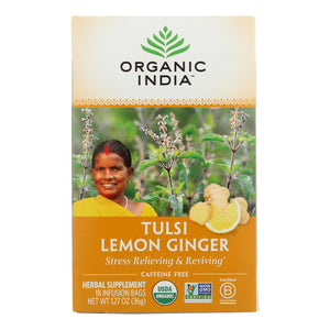 Organic India Tulsi Tea Lemon Ginger - 18 Tea Bags - Case Of 6