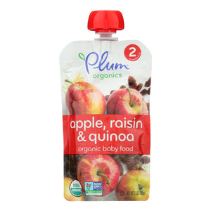 Plum Organics Baby Food - Organic - Apple Raisin And Quinoa - Stage 2 - 6 Months And Up - 3.5 Oz - Case Of 6