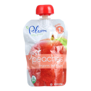 Plum Organics Just Fruit - Organic - Peaches - Stage 1 - 4 Months And Up - 3.5 Oz - Case Of 6