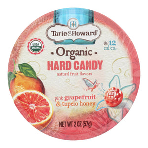 Torie And Howard Organic Hard Candy - Pink Grapefruit And Tupelo Honey - 2 Oz - Case Of 8
