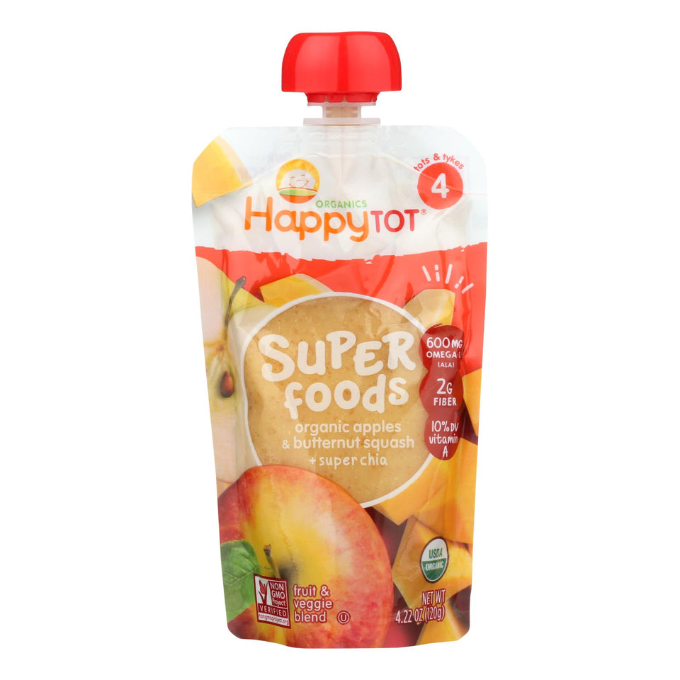 Happy Tot Toddler Food - Organic - Stage 4 - Apple And Butternut Squash - 4.22 Oz - Case Of 16