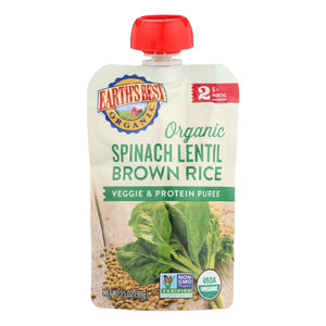 Earth's Best Organic Spinach Lentil Brown Rice Veggie And Protein Puree - Case Of 12 - 3.5 Oz.