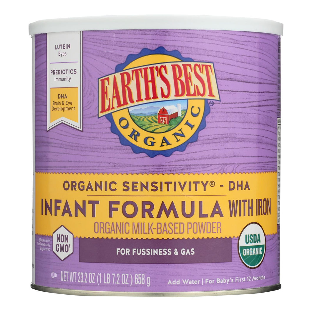 Earth's Best Organic Sensitivity Infant Formula With Iron - Case Of 4 - 23.2 Oz.
