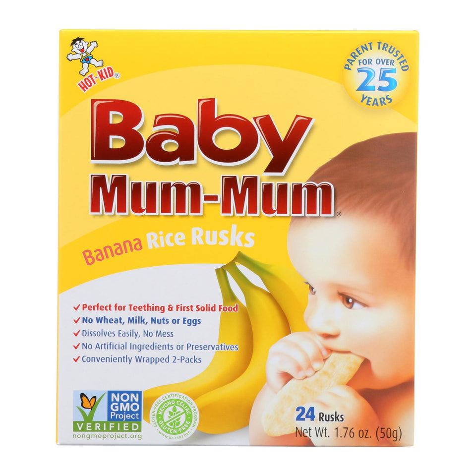 Hot Kid Baby Mum Rice Biscuit - Banana - Case Of 6 - 1.76 Oz.