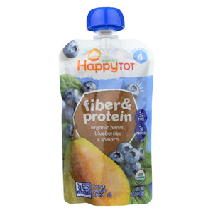 Happy Tot Toddler Food - Organic - Fiber And Protein - Stage 4 - Pear Blueberry And Spinach - 4 Oz - Case Of 16