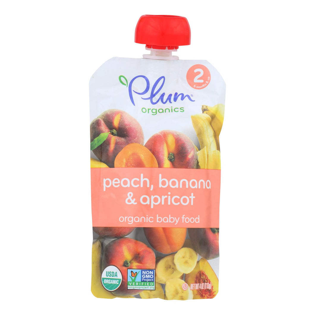 Plum Organics Baby Food - Organic - Apricot And Banana - Stage 2 - 6 Months And Up - 3.5 .oz - Case Of 6