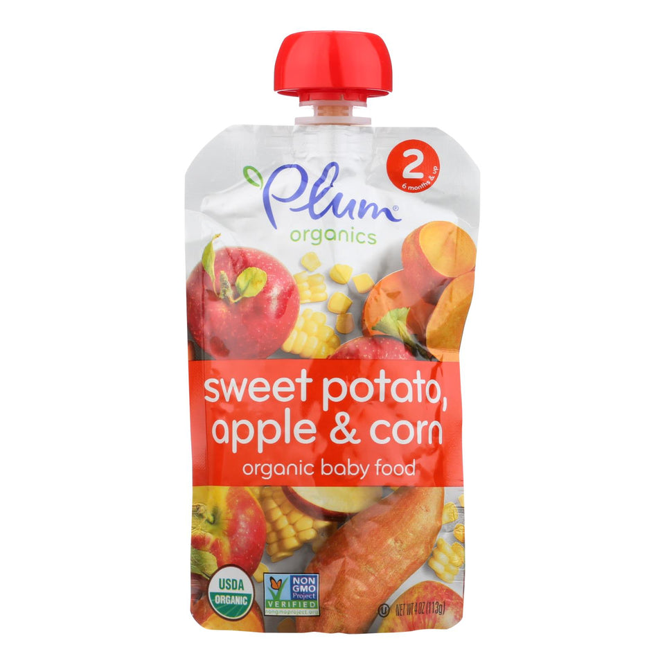 Plum Organics Baby Food - Organic -sweet Potato Corn And Apple - Stage 2 - 6 Months And Up - 3.5 .oz - Case Of 6