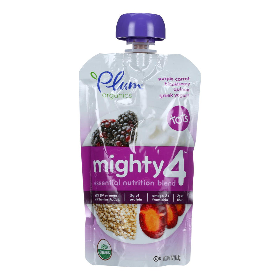 Plum Organics Essential Nutrition Blend - Mighty 4 - Purple Carrot Blackberry Quinoa Greek Yogurt - 4 Oz - Case Of 6
