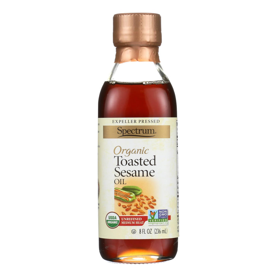Spectrum Naturals Organic Unrefined Toasted Sesame Oil - Case Of 6 - 8 Fl Oz.
