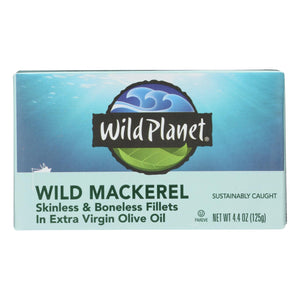 Wild Planet Wild Mackerel Fillets In Extra Virgin Olive Oil - Case Of 12 - 4.375 Oz.