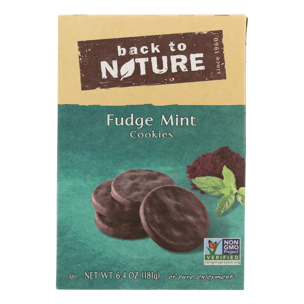 Back To Nature Cookies - Fudge Mint - Case Of 6 - 6.4 Oz.