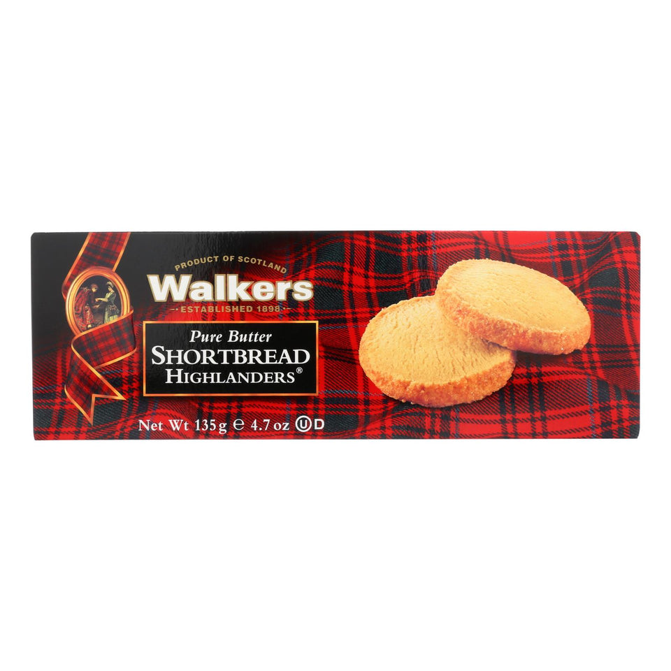 Walkers Shortbread - Pure Butter, Highlanders - Case Of 12 - 4.7 Oz.