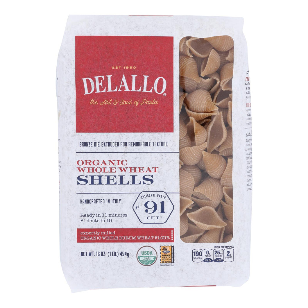 Delallo - Organic Whole Wheat Pasta Shells - Case Of 16 - 1 Lb.