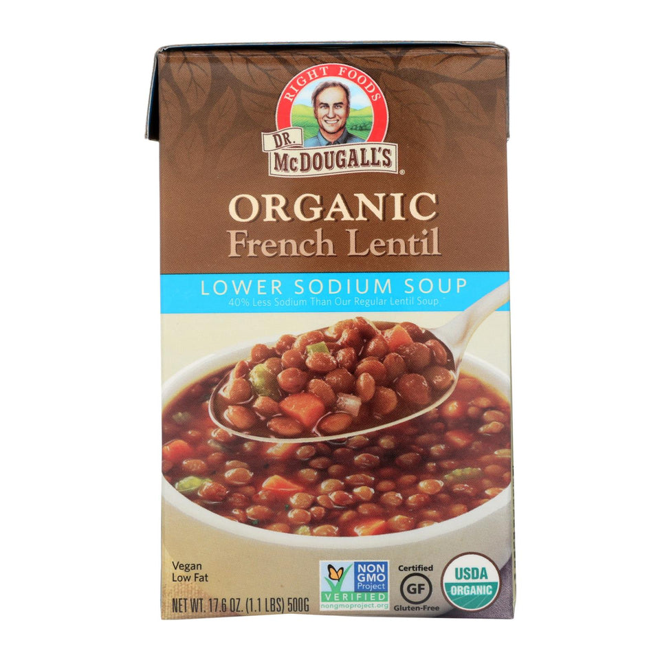 Dr. Mcdougall's Organic French Lentil Lower Sodium Soup - Case Of 6 - 17.6 Oz.
