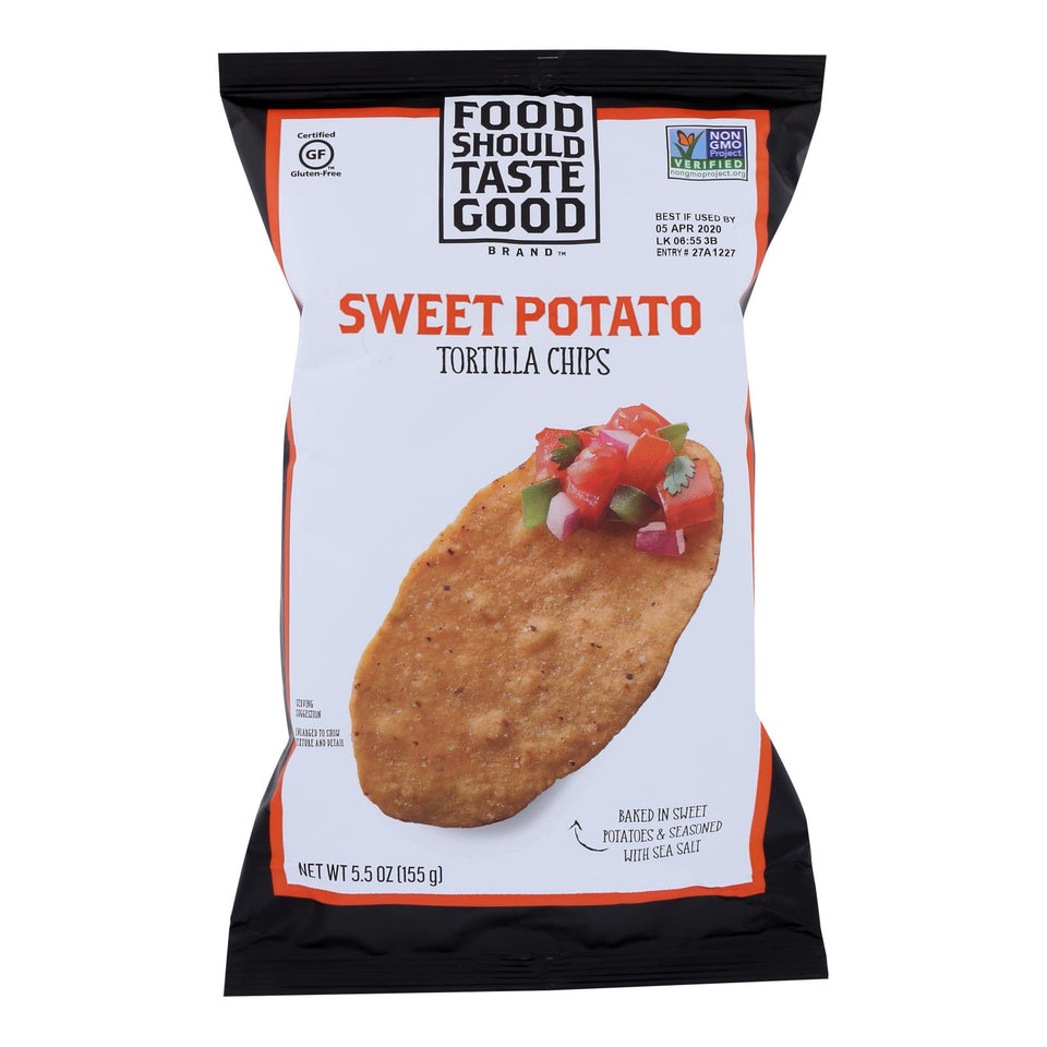Food Should Taste Good Sweet Potato Tortilla Chips - Sweet Potato - Case Of 12 - 5.5 Oz.