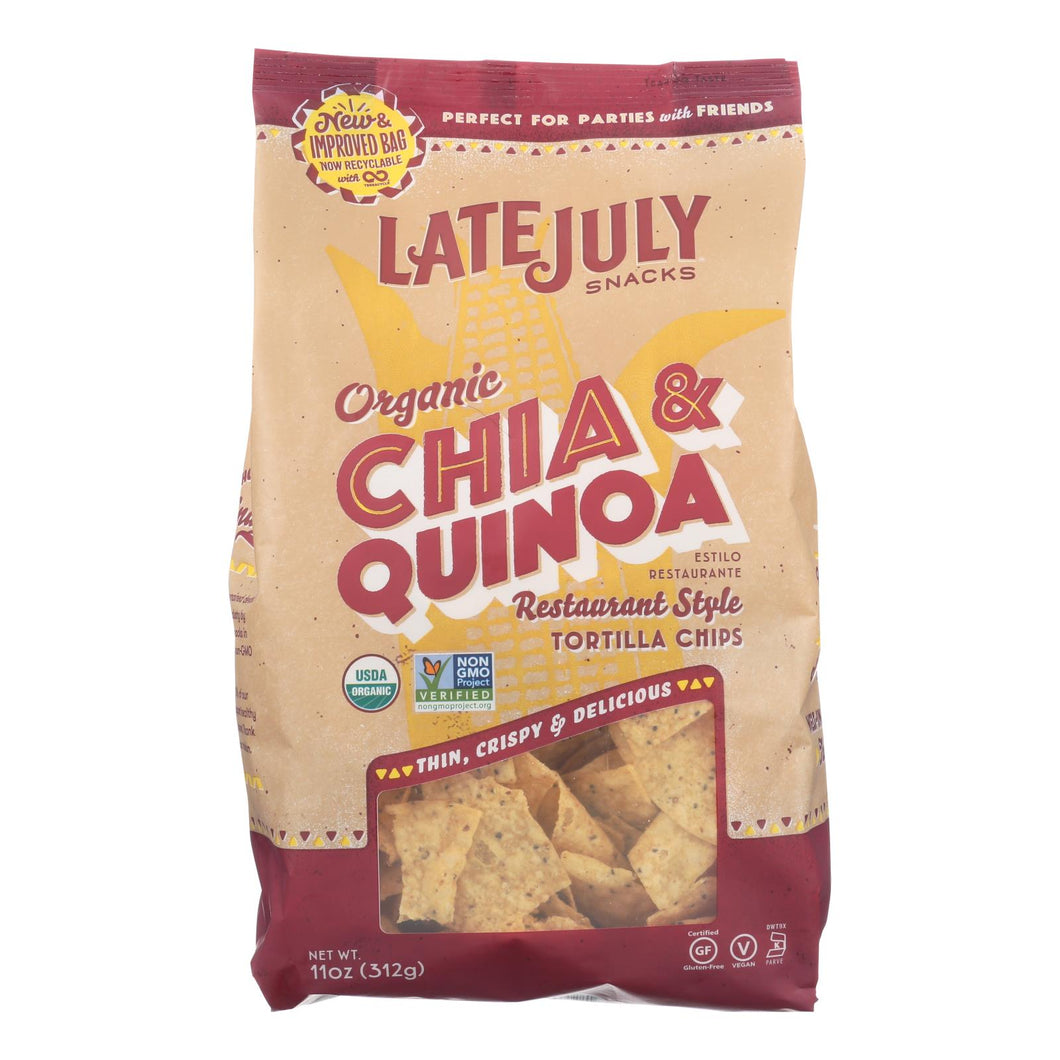 Late July Snacks Organic Tortilla Chips - Thin Multigrain - Case Of 9 - 11 Oz.