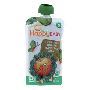Happy Baby Organic Stage 2 Baby Food - Apple - Spinach & Kale Pouch - Case Of 16 - 3.5 Oz
