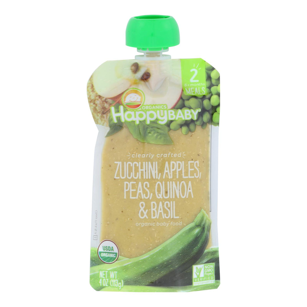 Happy Baby Organic Baby Food - Zucchini - Peas - Quinoa - Case Of 16 - 4 Oz