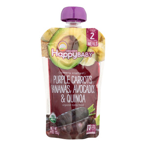 Happy Baby Organic Baby Food - Purple Carrots - Banana - Case Of 16 - 4 Oz